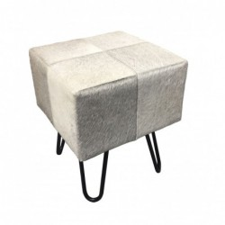 Cowhide Leather Stool - Grey