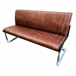 Brown Leather Dining Bench...