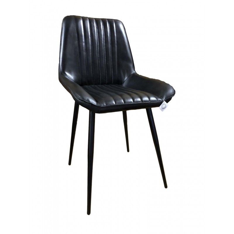 Black Leather Dining Chair Iron Legs