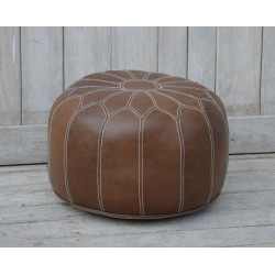 Leather Moroccan Pouffe /...