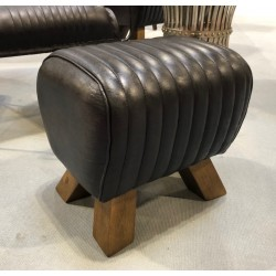 Black Leather Stool /...