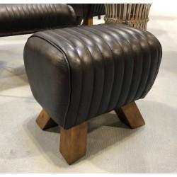 Black Leather Stool /...