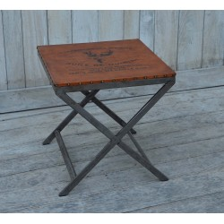 Side Table with Leather Top