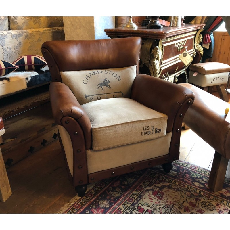 Vintage style arm chair - Leather and canvas Polo design