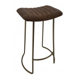 Leather Barstool with Iron...