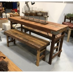 Vintage Wooden Table & 2...